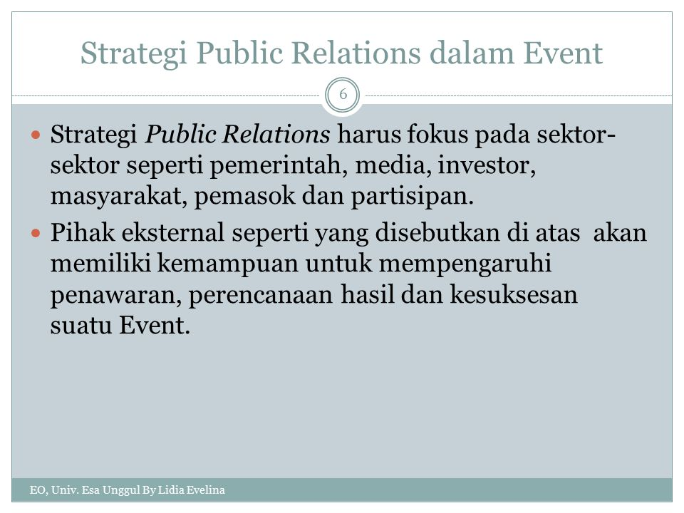 Strategi Public Relations dalam Event