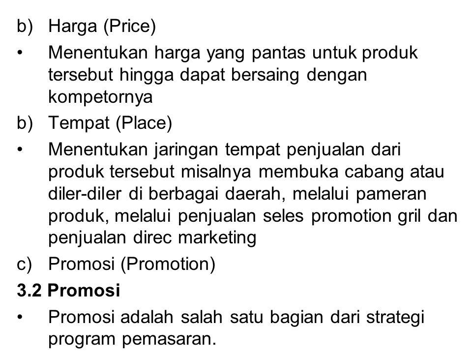 Harga (Price) Menentukan harga yang pantas untuk produk tersebut hingga dapat bersaing dengan kompetornya.