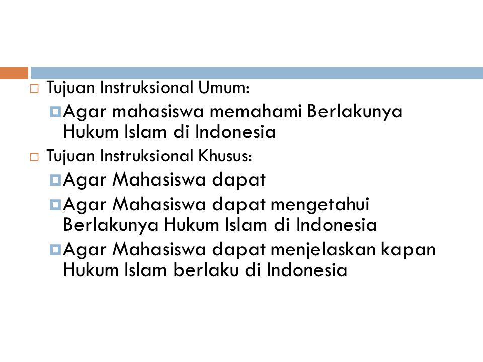 Agar mahasiswa memahami Berlakunya Hukum Islam di Indonesia