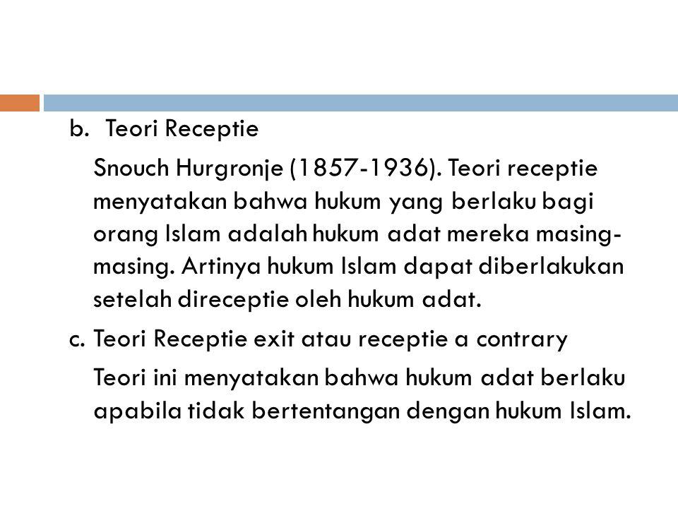 b. Teori Receptie Snouch Hurgronje (1857-1936)