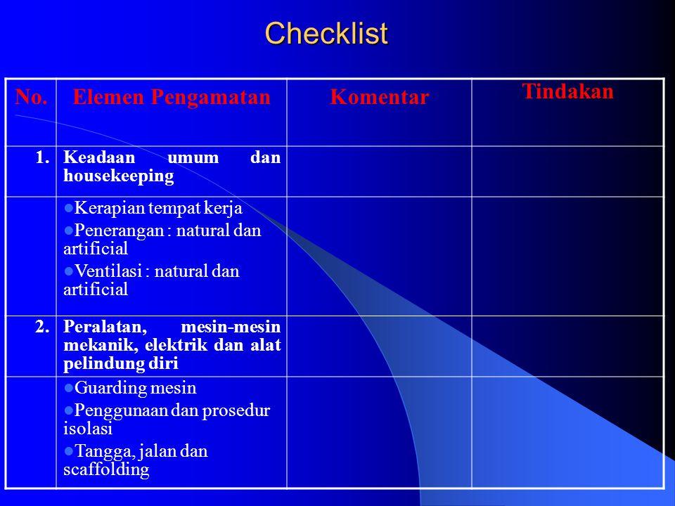 Checklist No. Elemen Pengamatan Komentar Tindakan 1.