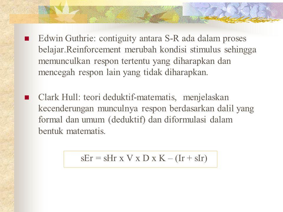 Edwin Guthrie: contiguity antara S-R ada dalam proses belajar