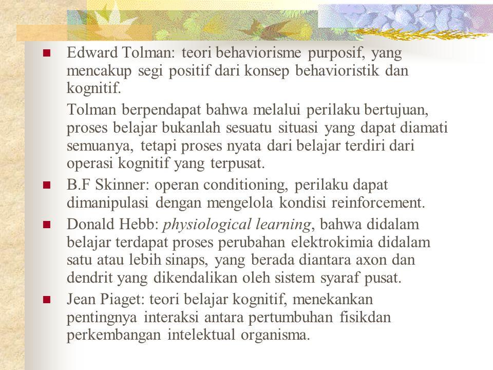 Edward Tolman: teori behaviorisme purposif, yang mencakup segi positif dari konsep behavioristik dan kognitif.