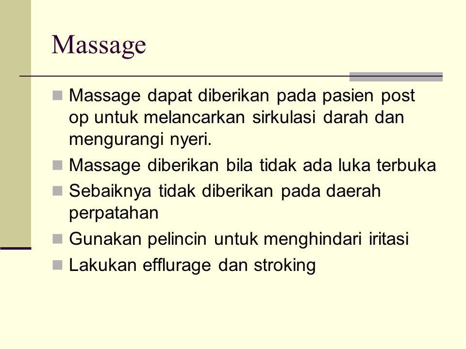 Massage Massage dapat diberikan pada pasien post op untuk melancarkan sirkulasi darah dan mengurangi nyeri.