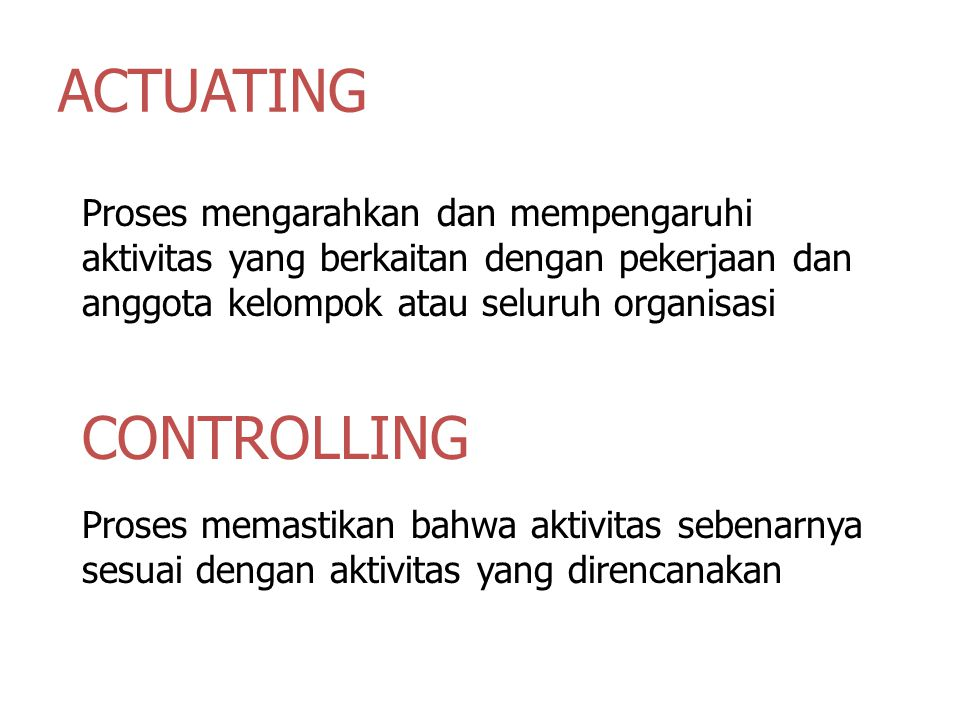 ACTUATING CONTROLLING