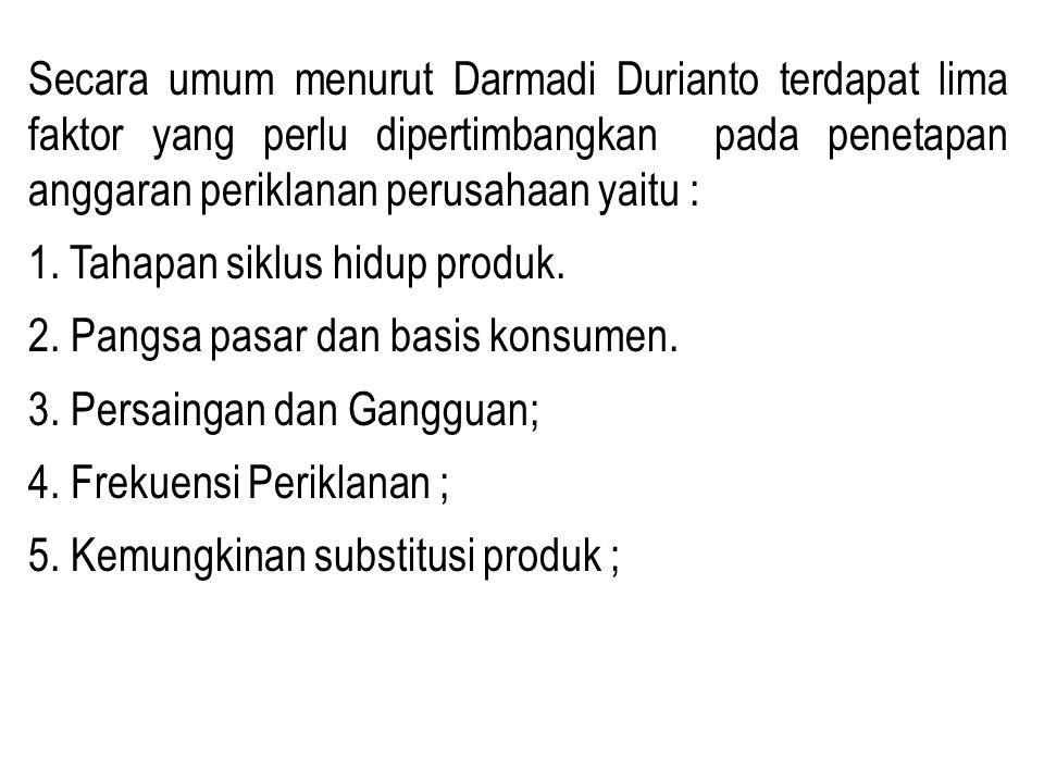Secara umum menurut Darmadi Durianto terdapat lima faktor yang perlu dipertimbangkan pada penetapan anggaran periklanan perusahaan yaitu : 1.