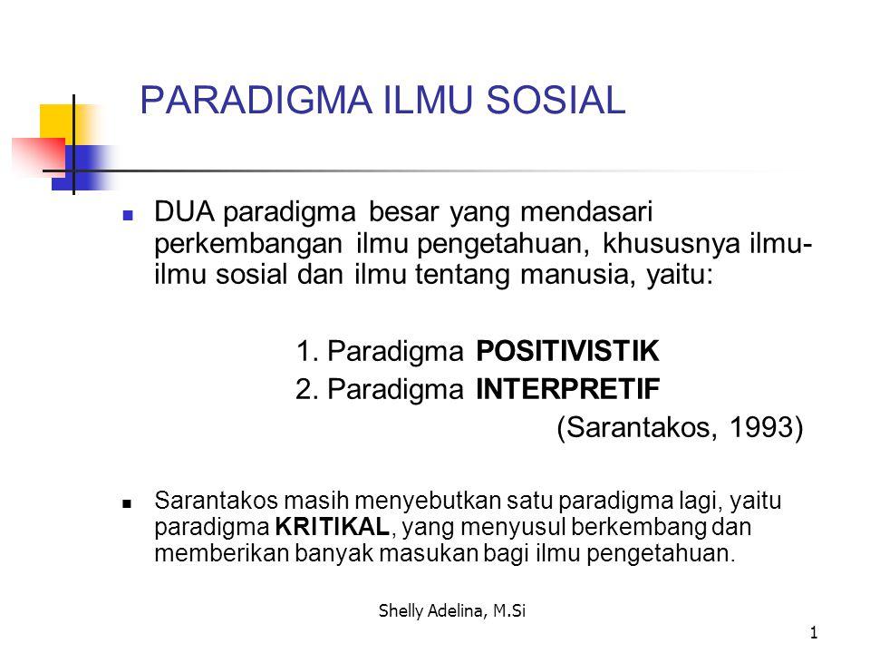 PARADIGMA ILMU SOSIAL DUA paradigma besar yang mendasari perkembangan ilmu pengetahuan, khususnya ilmu-ilmu sosial dan ilmu tentang manusia, yaitu: