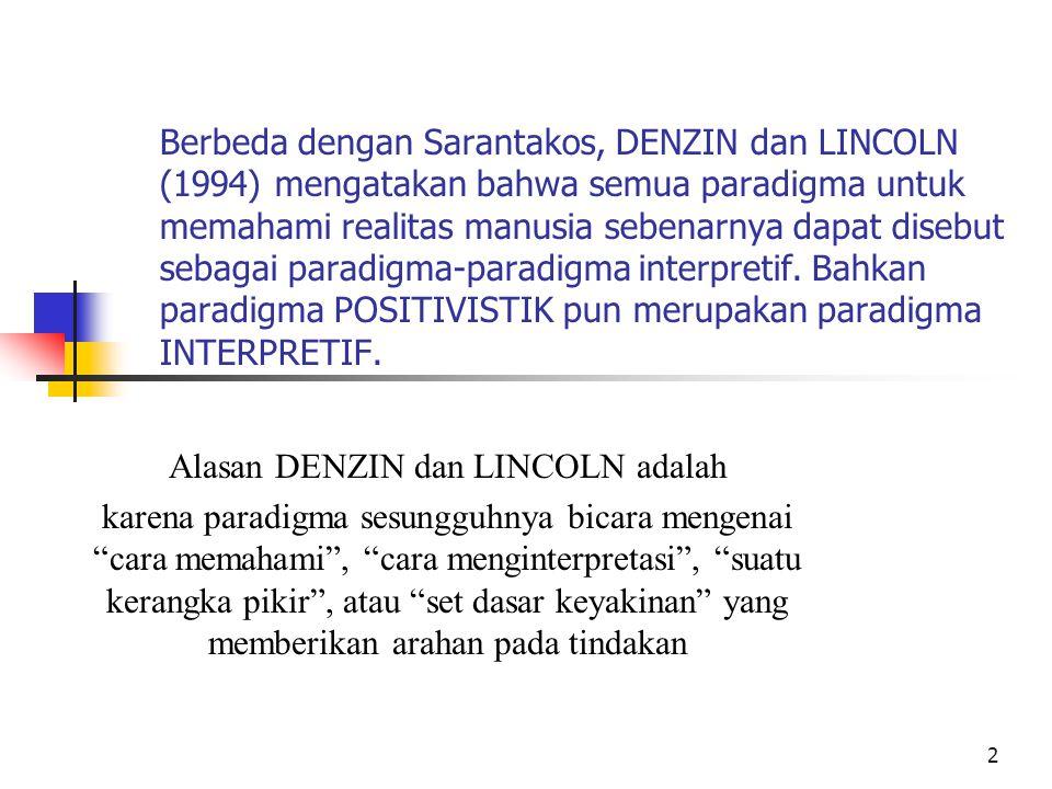 Alasan DENZIN dan LINCOLN adalah