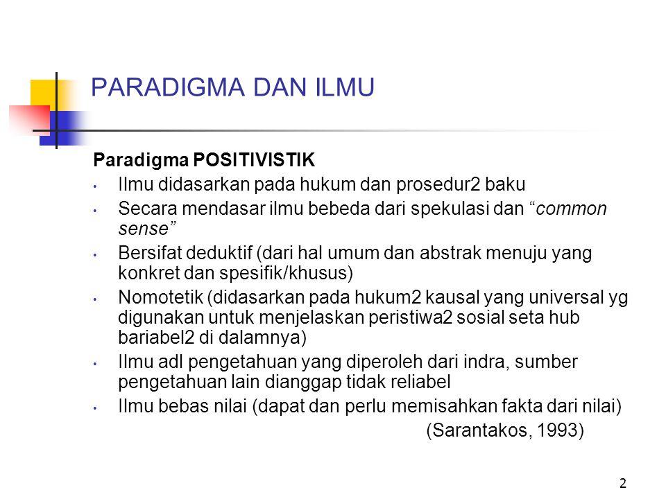 PARADIGMA DAN ILMU Paradigma POSITIVISTIK