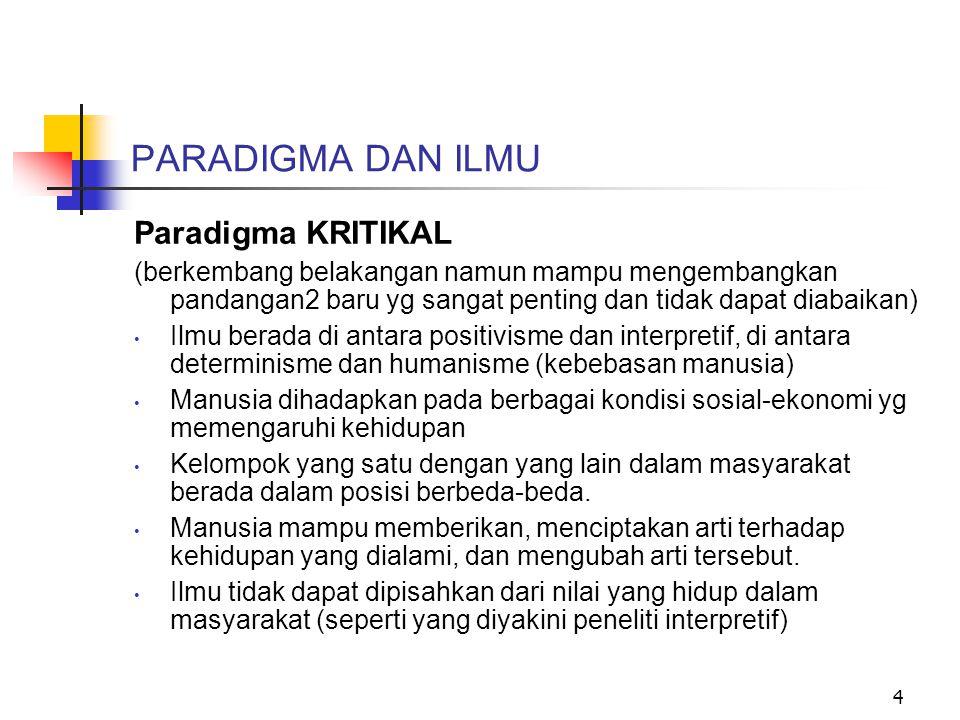 PARADIGMA DAN ILMU Paradigma KRITIKAL