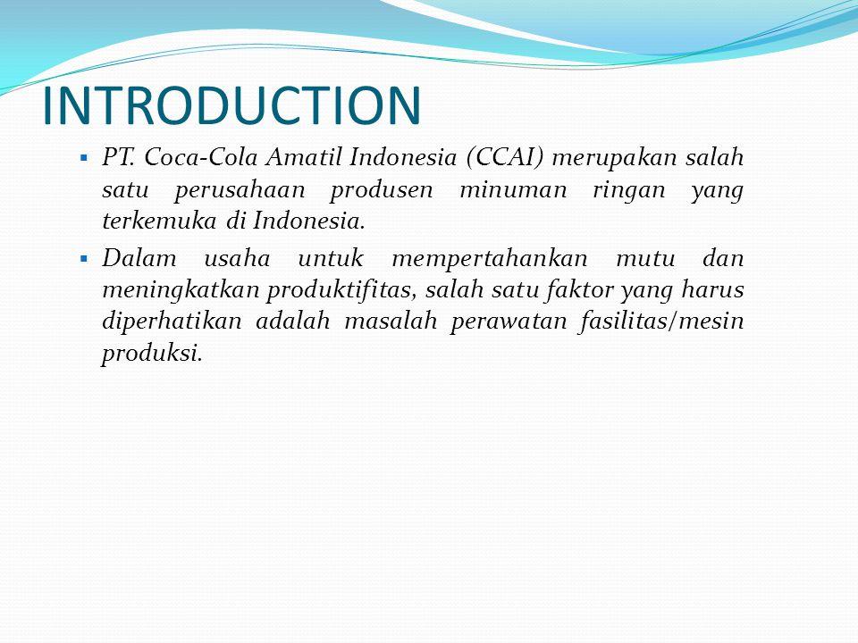 INTRODUCTION PT. Coca-Cola Amatil Indonesia (CCAI) merupakan salah satu perusahaan produsen minuman ringan yang terkemuka di Indonesia.