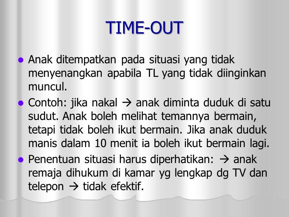 TIME-OUT Anak ditempatkan pada situasi yang tidak menyenangkan apabila TL yang tidak diinginkan muncul.