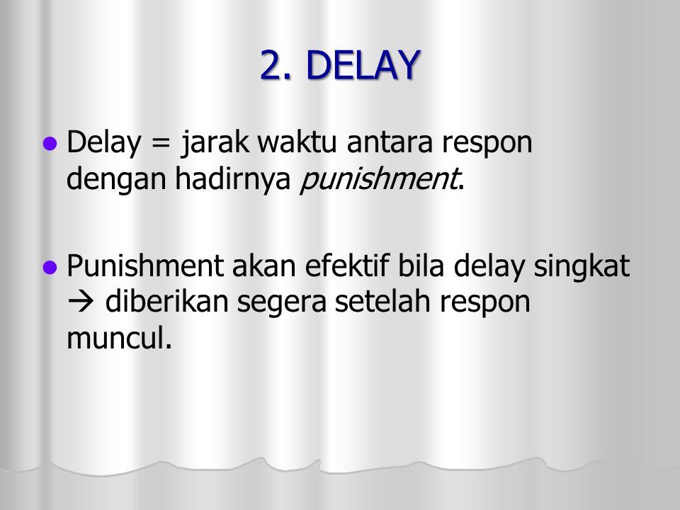 2. DELAY Delay = jarak waktu antara respon dengan hadirnya punishment.
