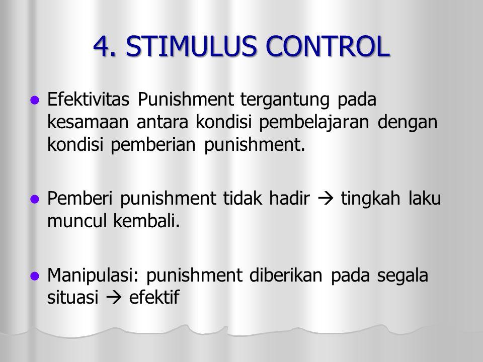4. STIMULUS CONTROL Efektivitas Punishment tergantung pada kesamaan antara kondisi pembelajaran dengan kondisi pemberian punishment.