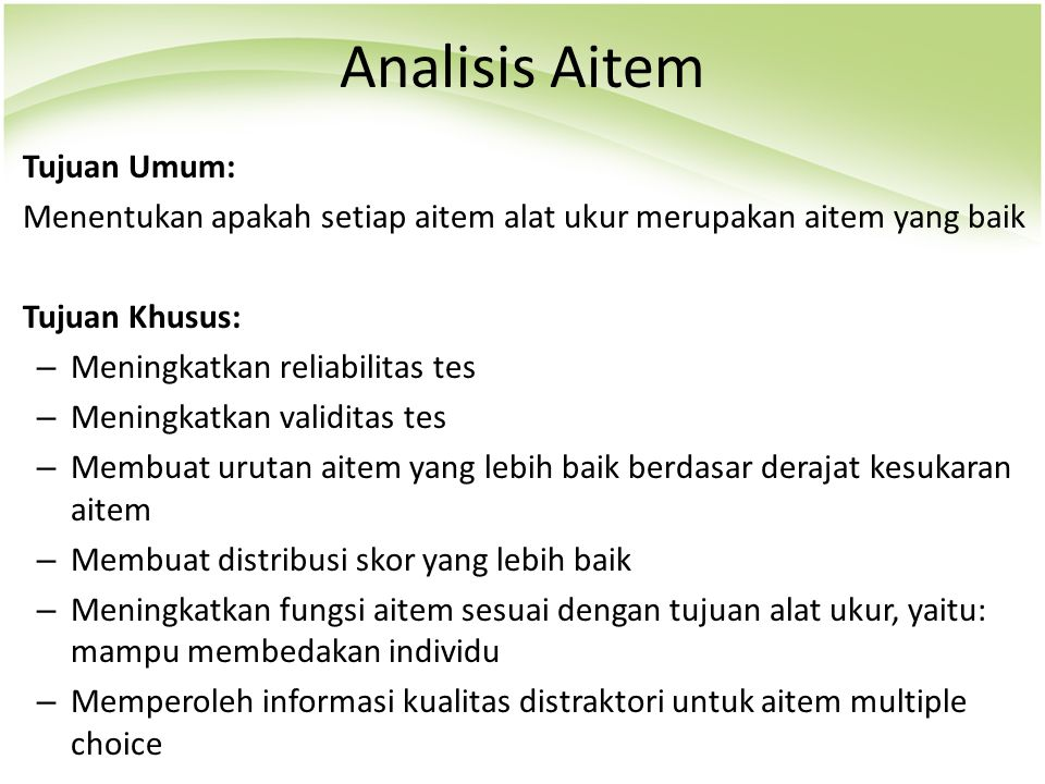 Analisis Aitem Tujuan Umum: