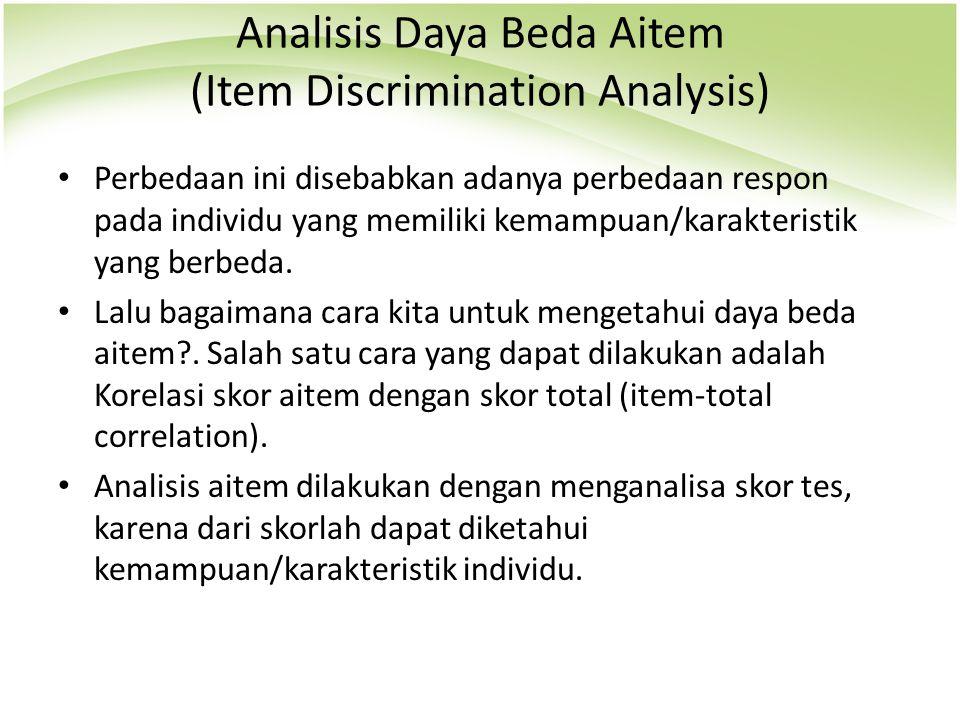 Analisis Daya Beda Aitem (Item Discrimination Analysis)