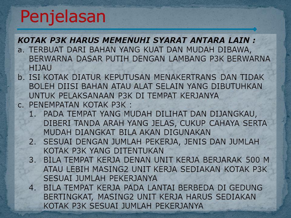 Penjelasan KOTAK P3K HARUS MEMENUHI SYARAT ANTARA LAIN :