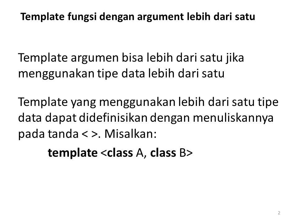 Template fungsi dengan argument lebih dari satu