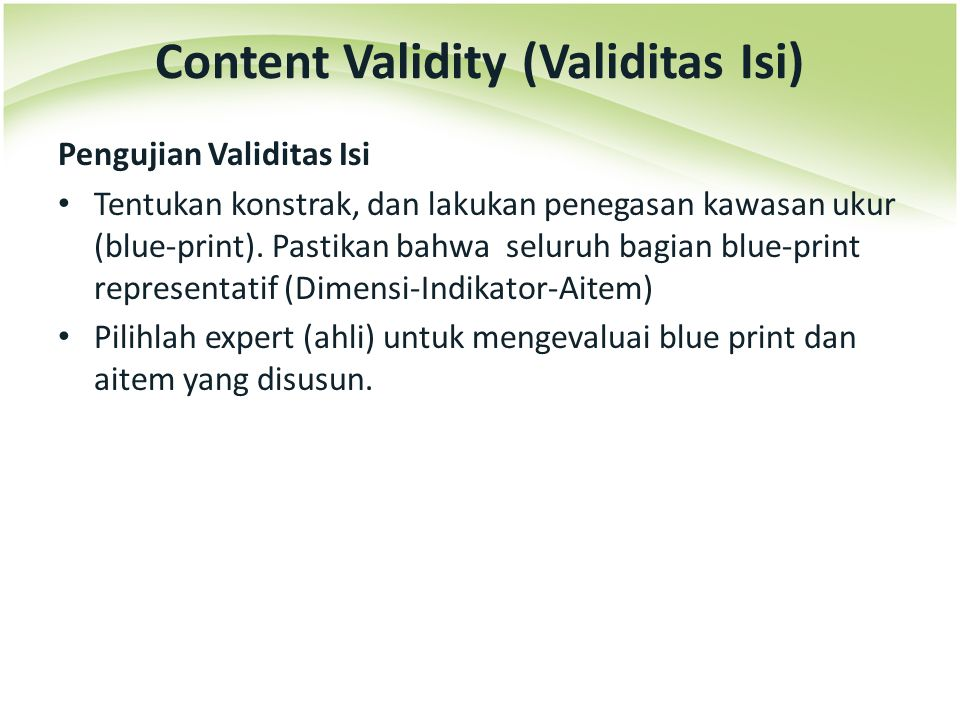 Content Validity (Validitas Isi)