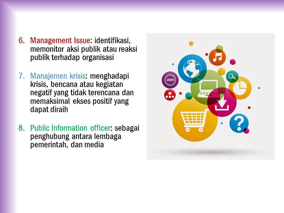 Management Issue: identifikasi, memonitor aksi publik atau reaksi publik terhadap organisasi