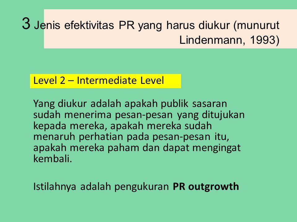 3 Jenis efektivitas PR yang harus diukur (munurut Lindenmann, 1993)