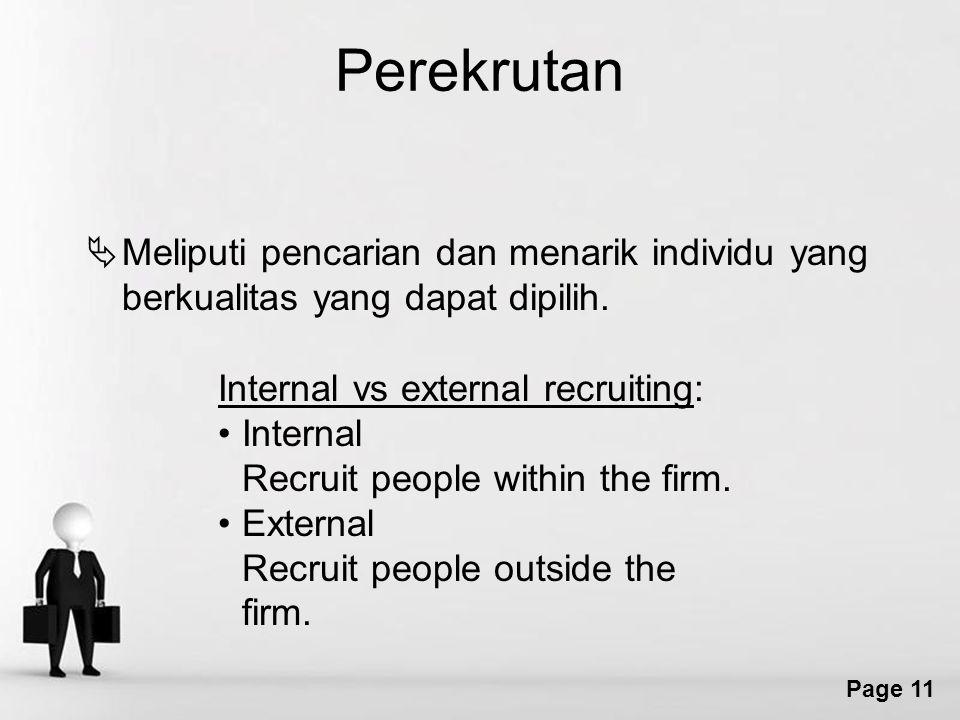 Perekrutan Meliputi pencarian dan menarik individu yang berkualitas yang dapat dipilih. Internal vs external recruiting: