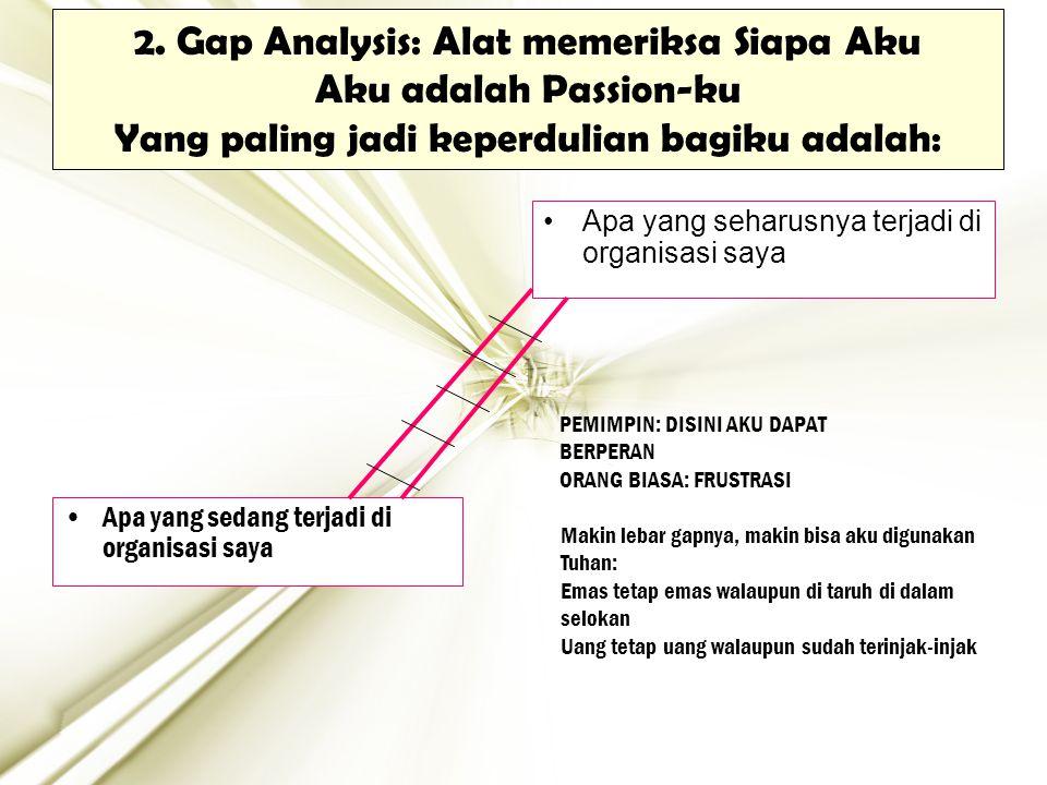 2. Gap Analysis: Alat memeriksa Siapa Aku Aku adalah Passion-ku Yang paling jadi keperdulian bagiku adalah: