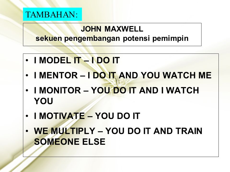 JOHN MAXWELL sekuen pengembangan potensi pemimpin