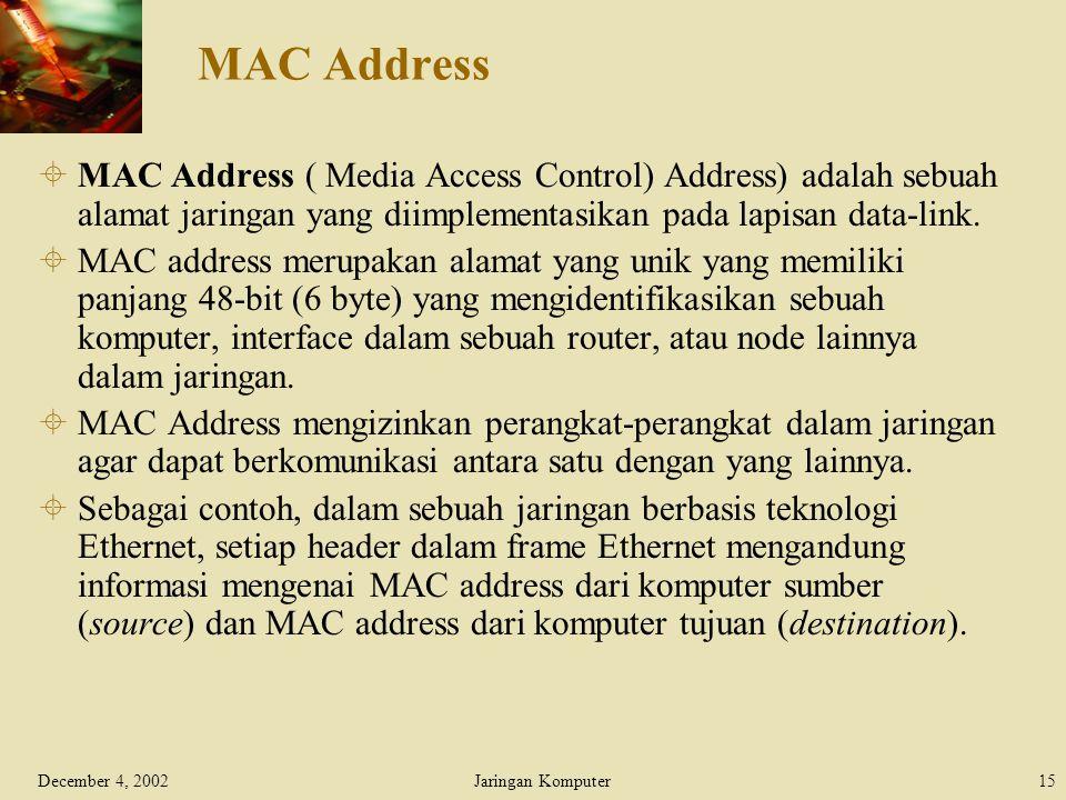 MAC Address MAC Address ( Media Access Control) Address) adalah sebuah alamat jaringan yang diimplementasikan pada lapisan data-link.