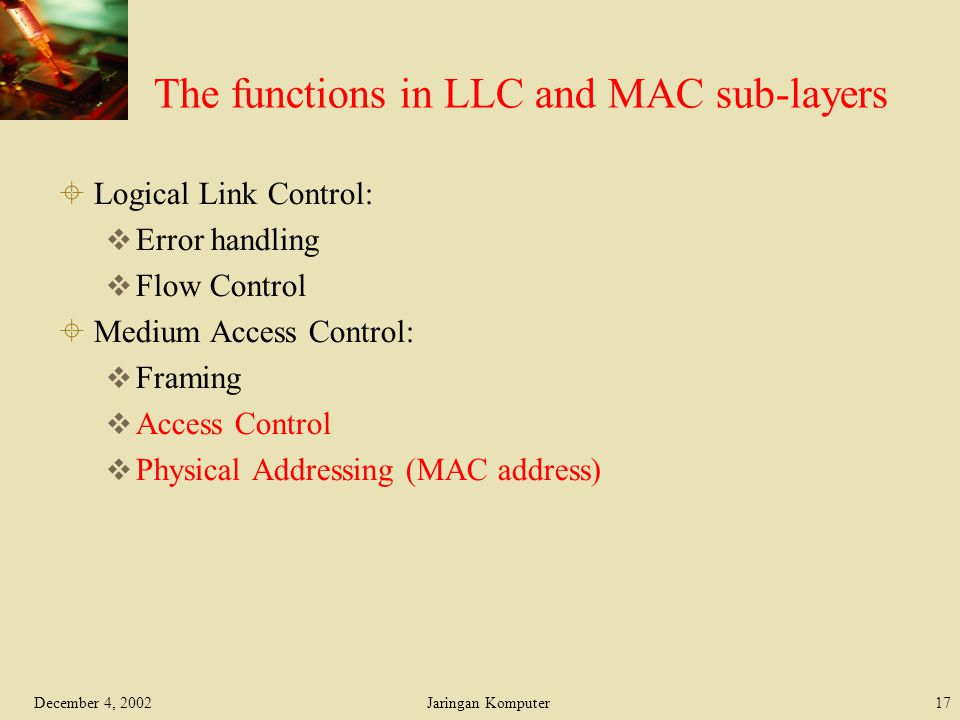 The functions in LLC and MAC sub-layers