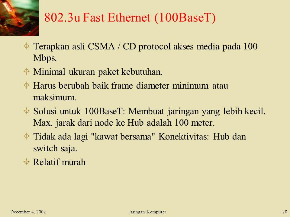 802.3u Fast Ethernet (100BaseT)