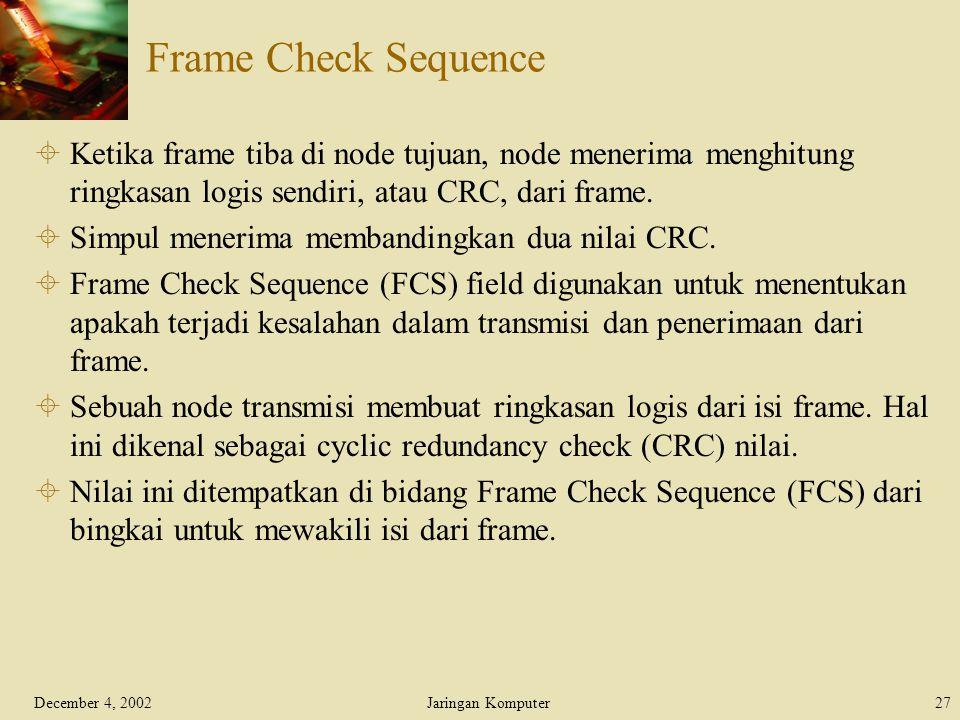 Frame Check Sequence Ketika frame tiba di node tujuan, node menerima menghitung ringkasan logis sendiri, atau CRC, dari frame.