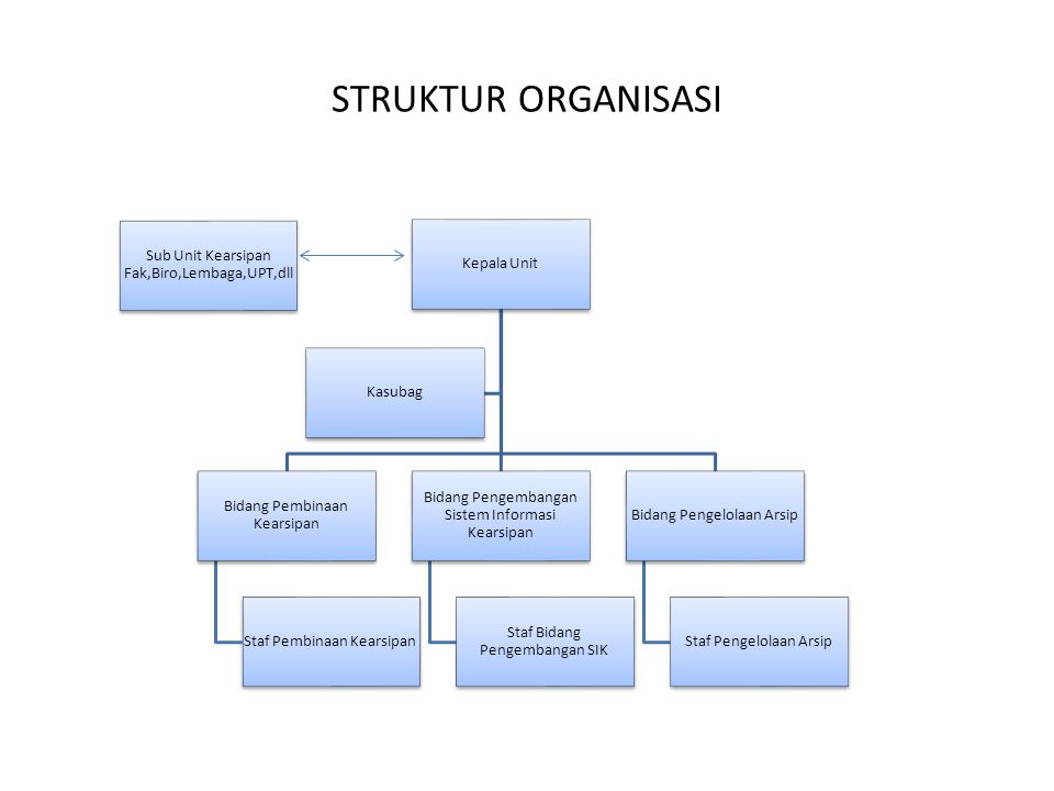 STRUKTUR ORGANISASI Sub Unit Kearsipan Fak,Biro,Lembaga,UPT,dll
