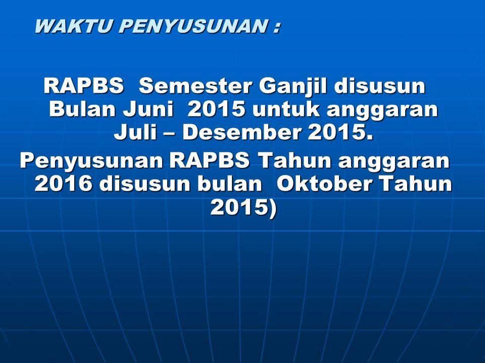 Penyusunan RAPBS Tahun anggaran 2016 disusun bulan Oktober Tahun 2015)