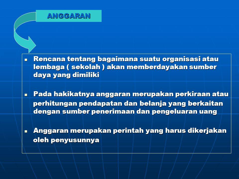 ANGGARAN Rencana tentang bagaimana suatu organisasi atau lembaga ( sekolah ) akan memberdayakan sumber daya yang dimiliki.