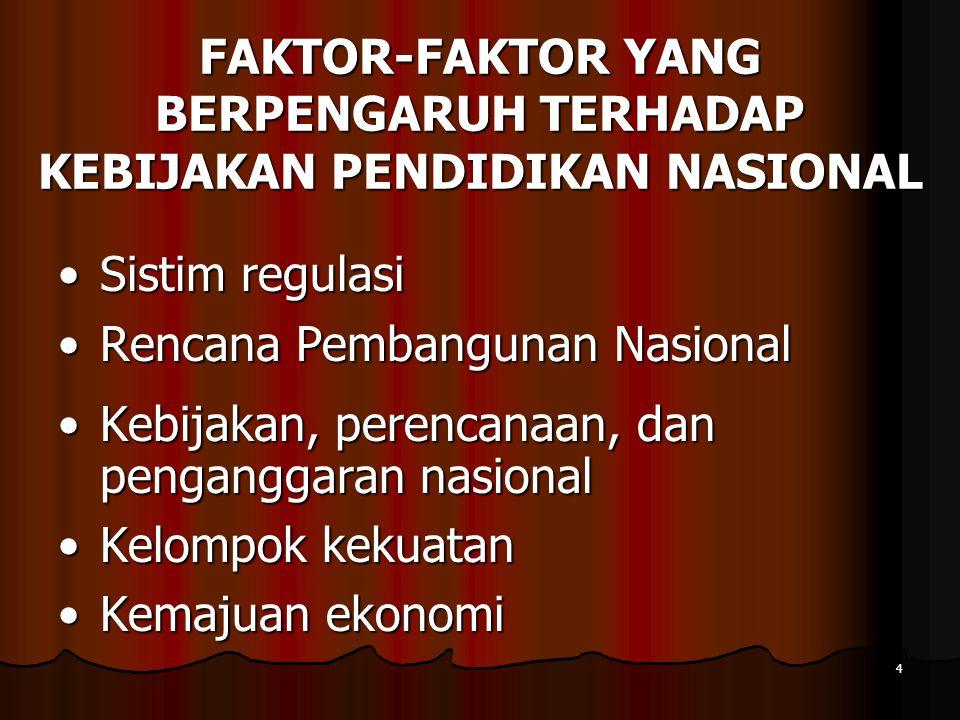 FAKTOR-FAKTOR YANG BERPENGARUH TERHADAP KEBIJAKAN PENDIDIKAN NASIONAL