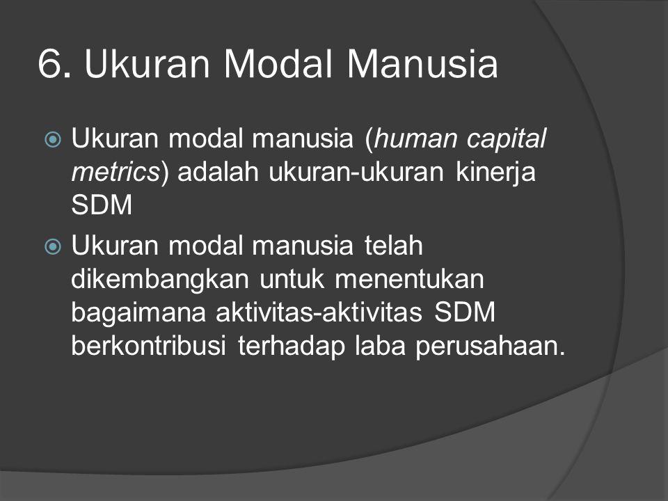 6. Ukuran Modal Manusia Ukuran modal manusia (human capital metrics) adalah ukuran-ukuran kinerja SDM.