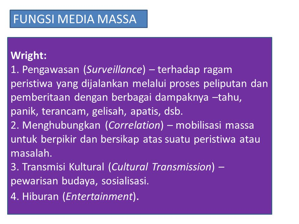 FUNGSI MEDIA MASSA Wright: