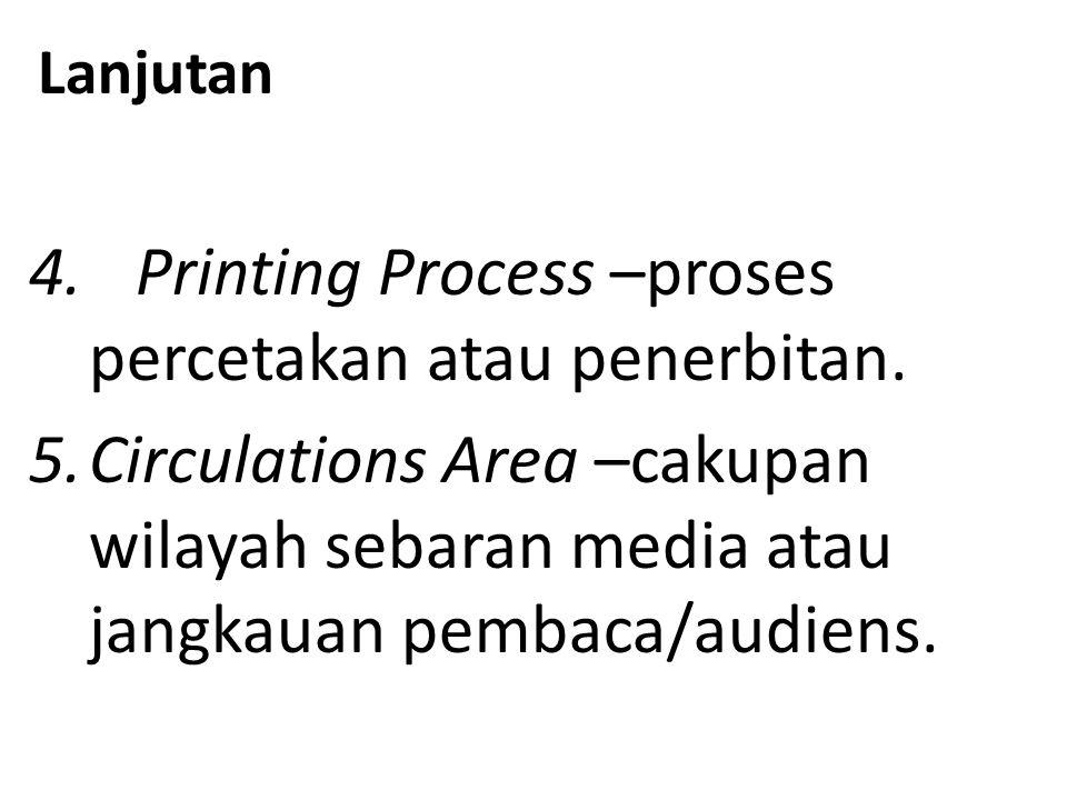 Lanjutan 4. Printing Process –proses percetakan atau penerbitan.