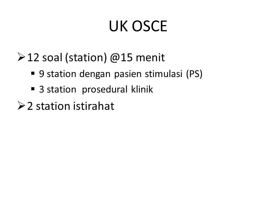 UK OSCE 12 soal (station) @15 menit 2 station istirahat