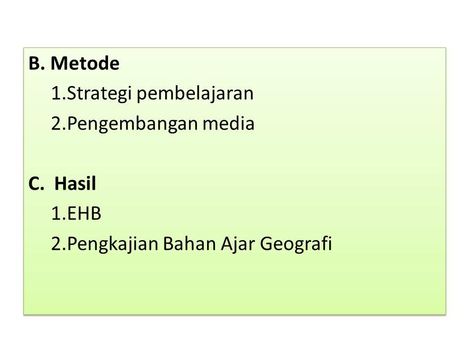 B. Metode 1. Strategi pembelajaran 2. Pengembangan media C. Hasil 1