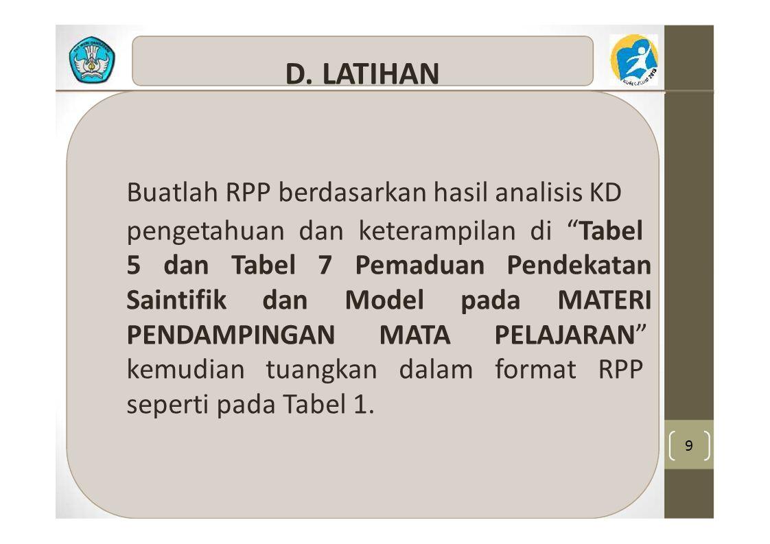 Buatlah RPP berdasarkan hasil analisis KD