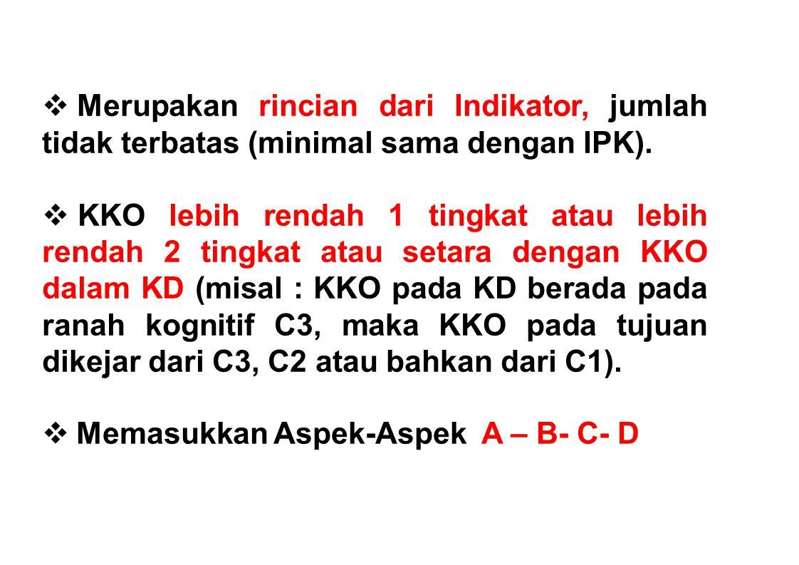 Merupakan rincian dari Indikator, jumlah tidak terbatas (minimal sama dengan IPK).