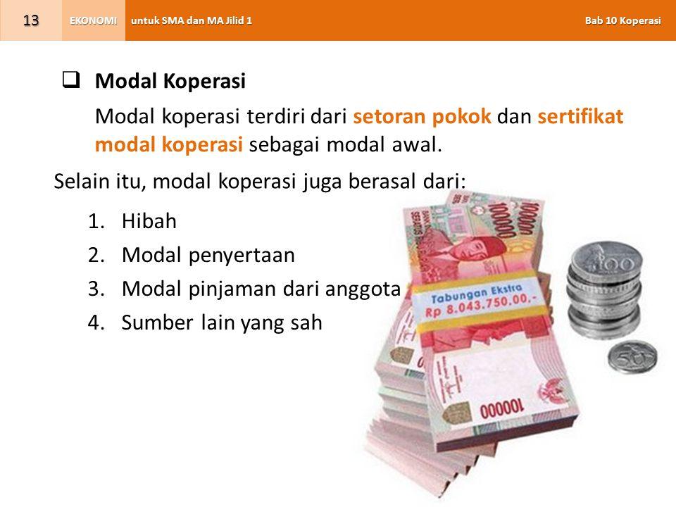 Modal Koperasi Modal koperasi terdiri dari setoran pokok dan sertifikat modal koperasi sebagai modal awal.