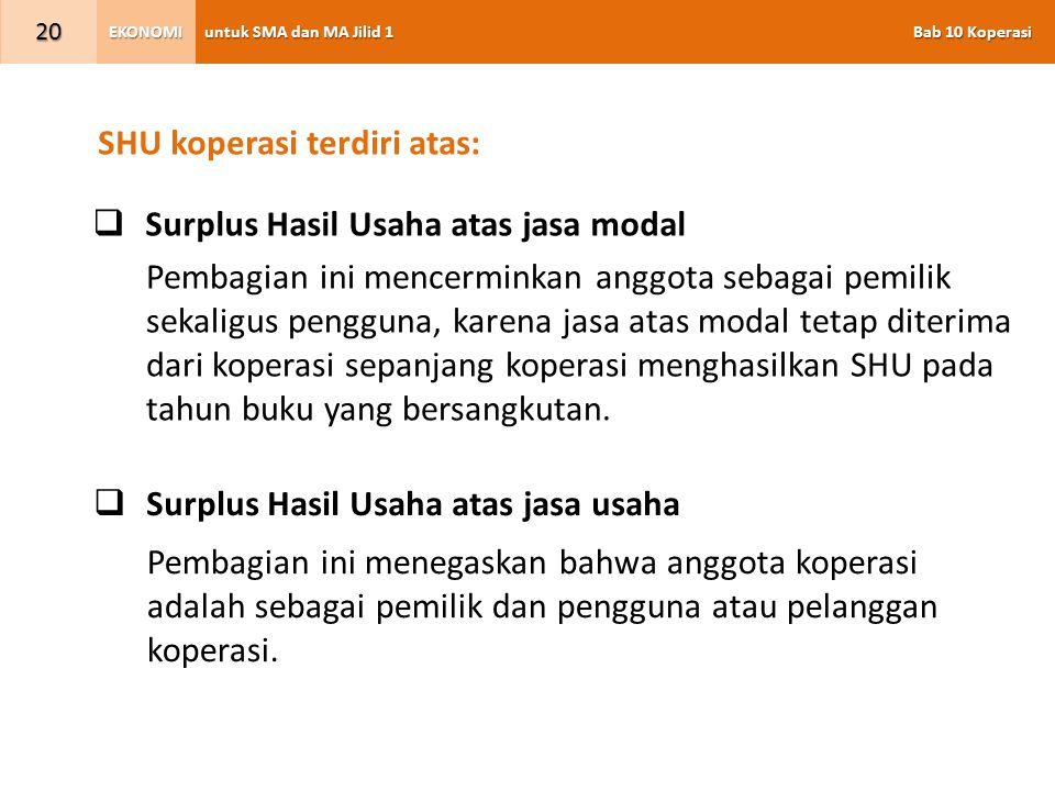 SHU koperasi terdiri atas: