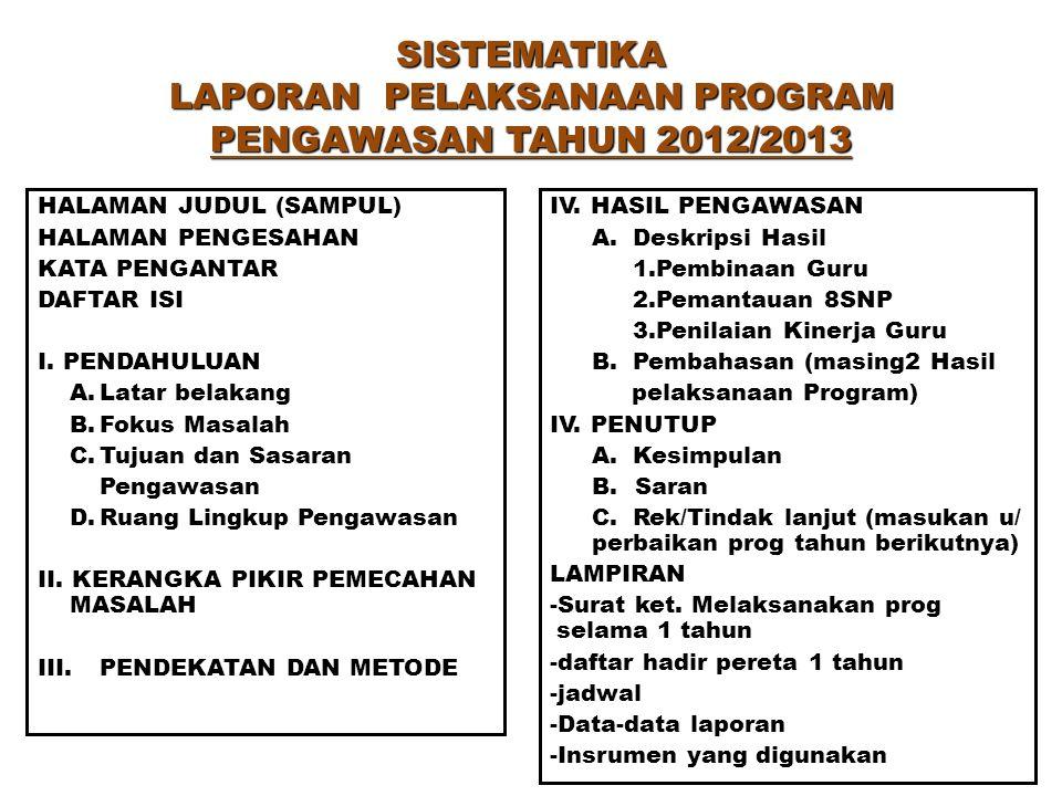 SISTEMATIKA LAPORAN PELAKSANAAN PROGRAM PENGAWASAN TAHUN 2012/2013