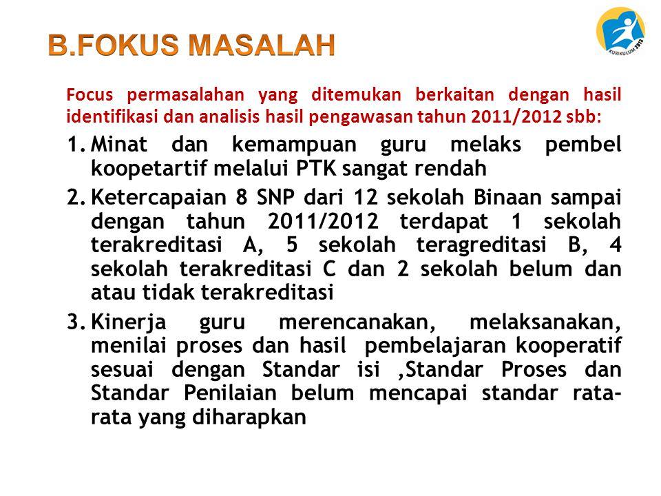 B.FOKUS MASALAH Focus permasalahan yang ditemukan berkaitan dengan hasil identifikasi dan analisis hasil pengawasan tahun 2011/2012 sbb:
