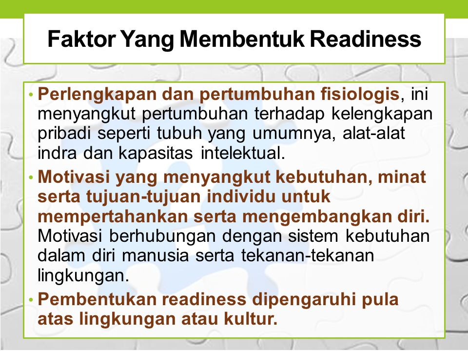 Faktor Yang Membentuk Readiness