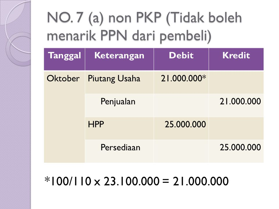 NO. 7 (a) non PKP (Tidak boleh menarik PPN dari pembeli)