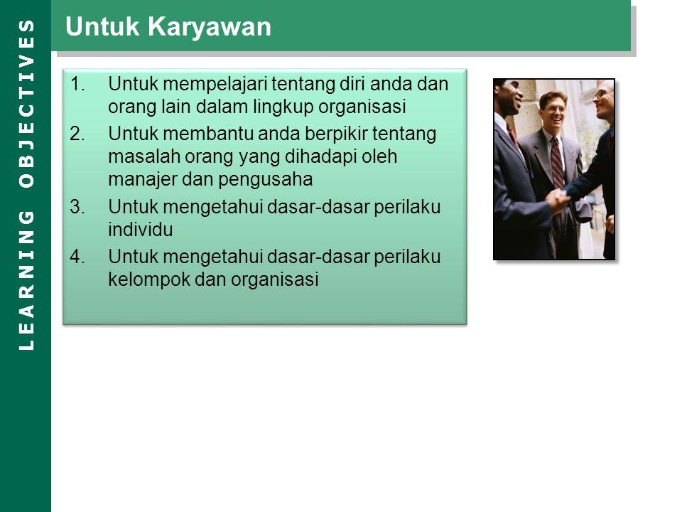 Untuk Karyawan Untuk mempelajari tentang diri anda dan orang lain dalam lingkup organisasi.